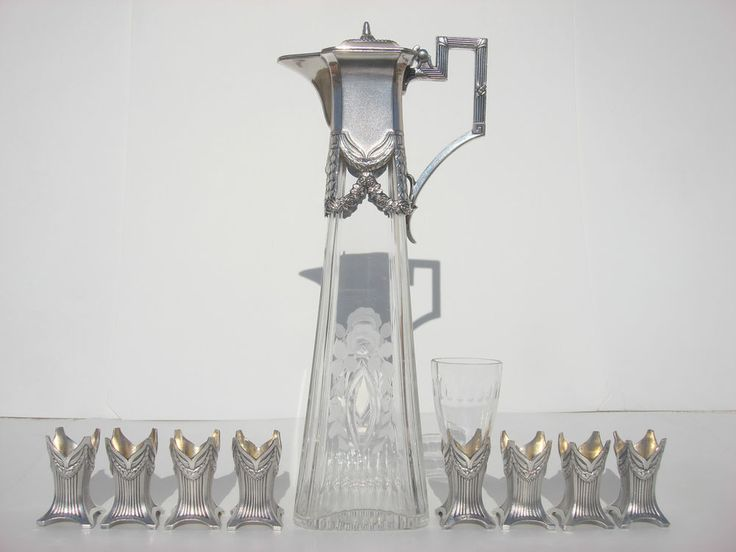 GERMAN ART NOUVEAU WMF SILVER PLATE SET ENGRAVED GLASS JUG DECANTER 8 CUP HOLDER #German #WMF #Nouveau #SilverPlated #Engraved #Glass #Crystal #Decanter #Jug #Carafe #CupSet #CupHolder