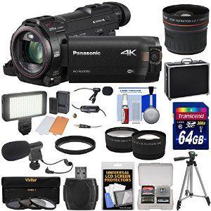 Panasonic HC-WXF991 Wi-Fi 4K Ultra HD Video Camera Camcorder with 64GB + Case + Tripod + LED Light + 2 Mics + Filters + Fisheye, Tele/Wide Lenses Kit   #4k #camera #videocamera #camcorder #photography #movies #diy #affiliatelink #video