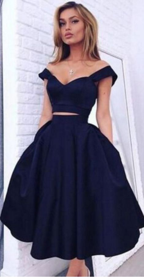 68b69afe54e Navy Blue Party Dresses Off The Shoulder Sexy Two Piece Prom Dress  Tea length Graduation Dress Cheap