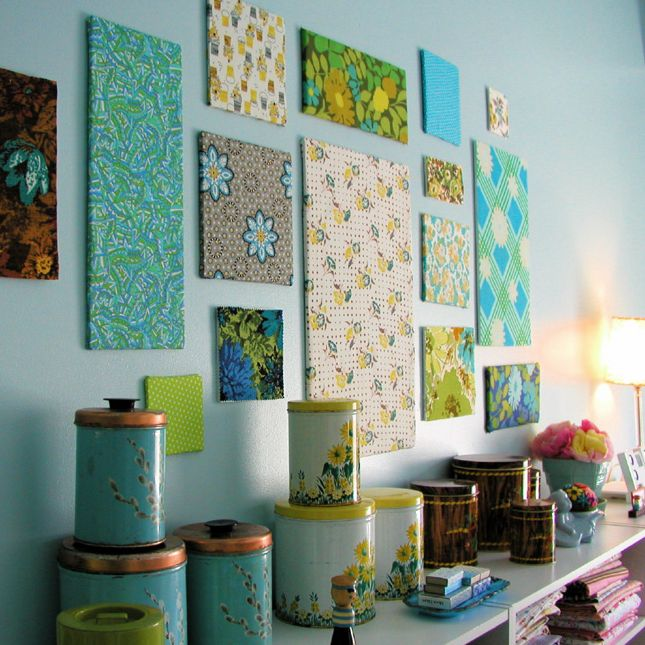 Fabric panel wall art | 40 Genius No-Sew DIY Projects- I can see myself wrapping and stapling corkboard for extra and fashionable bullentin board space. Student work display!