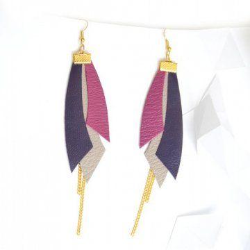 Boucles d'oreilles dorées avec motifs géométriques en cuir par Knock-on-wood