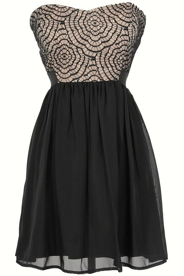 Strapless Web Lace Chiffon Dress in Black/Nude