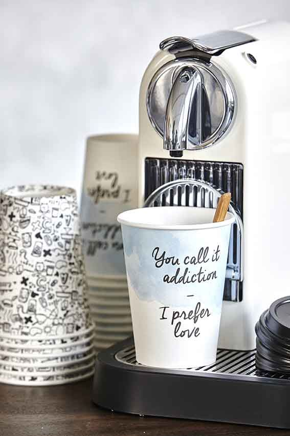 Disposable tableware from House Doctor. Bring your own home-brewed coffee, or tea?