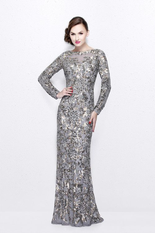 Buy the Long Sleeve Luxurious Floral Sequined Long Sheath Gown  1401 by Primavera Couture at CoutureCandy.com, the largest selection of Primavera Couture gowns available online.
