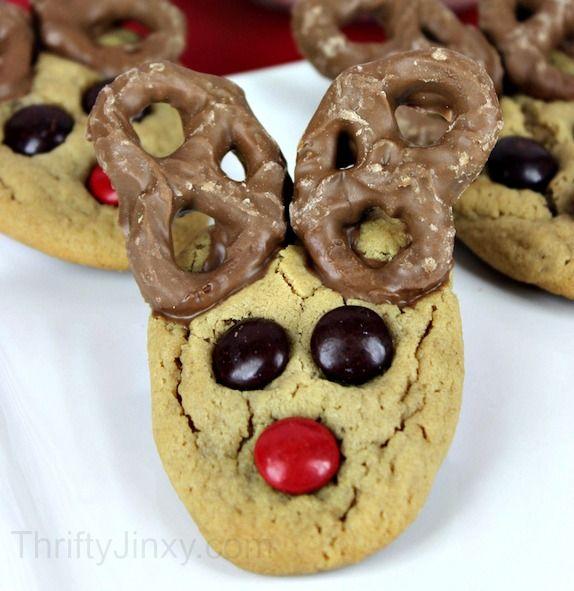 Peanut Butter Pretzel Reindeer Cookies Recipe - Fun and Easy Christmas Recipe! - Thrifty Jinxy