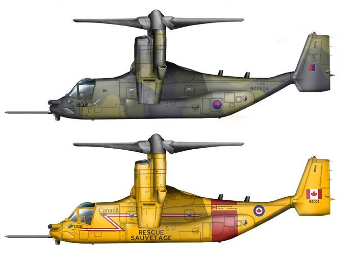 Artist rendering V-22 Osprey in Kiwi and Canadian SAR colors. | Prop