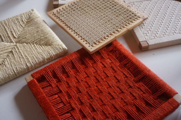 Bastidores tejidos para aplicar en silletería - Materiales: Fique curití, cumare, pita de algodón.