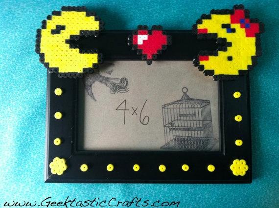 4x6 Pacman & Mrs. Pacman Love Perler Bead Geeky Frame