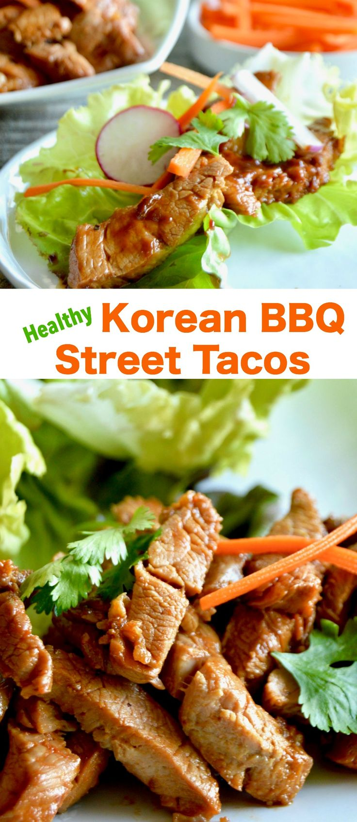 Healthy Korean BBQ Street tacos: a simple homemade seared pork filled taco that's super tender, bursting with flavor and topped with fresh veggies for a healthy taco Tuesday meal! #ad via @westviamidwest