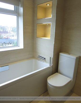 302 best images about bathroom design ideas on pinterest for Bathroom alcove shelves