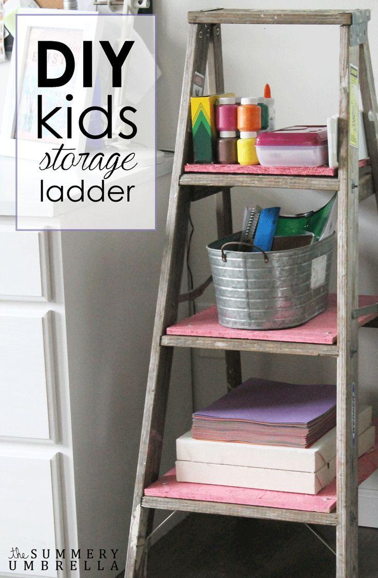 How to Create a DIY Kids Storage Ladder