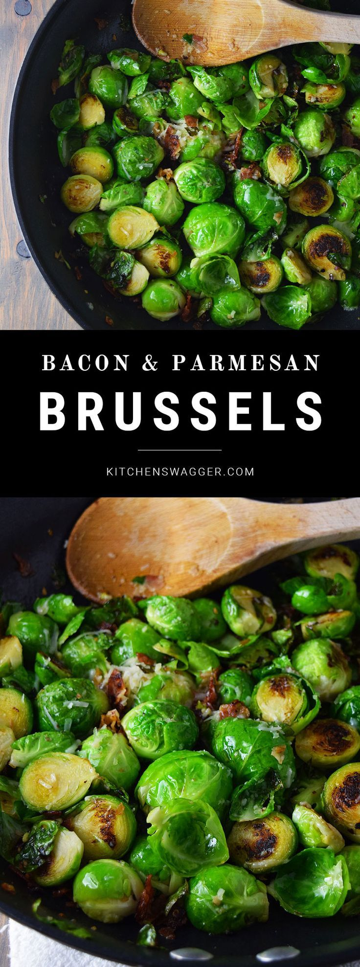 Brussel sprouts made with bacon, olive oil, garlic, and parmesan cheese.