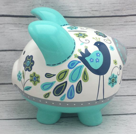 Personalized Piggy bank Turquoise navy grey and lime green