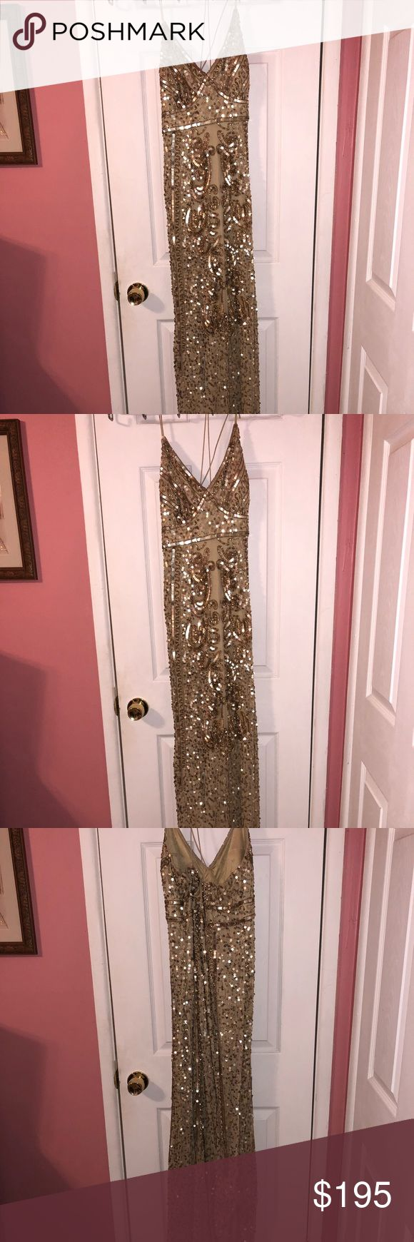 Long gold sequence dress Long gold sequence dress. Size 10 worn once. Windsor Dresses Prom