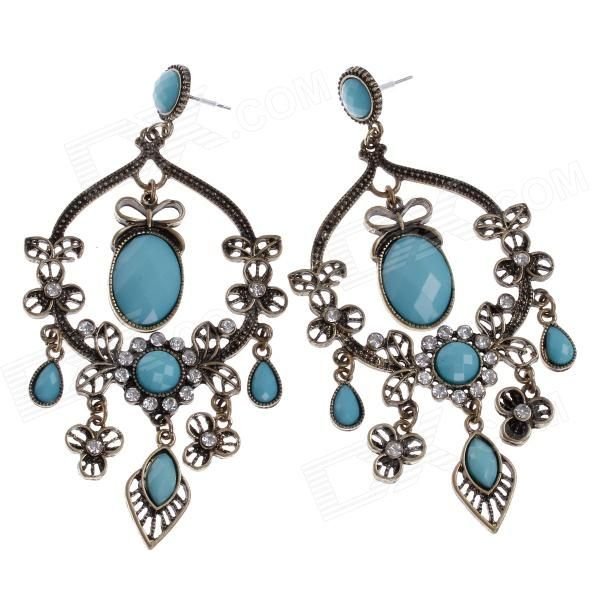 Brand: N/A; Quantity: 2 Piece; Color: Bronze + light blue; Material: Zinc alloy + rhinestone; Gender: Women; Suitable for: Adults; Length: 9.8 cm; Width: 5 cm; Features: Excellent craft and retro design, unique and elegant shape with shiny rhinestone decorated look like noble and graceful which is very easy to catch one's eye and gives you a beautiful look; Great as a gift to your girlfriend; Packing List: 1 x Pair of earrings; http://j.mp/1v301o0