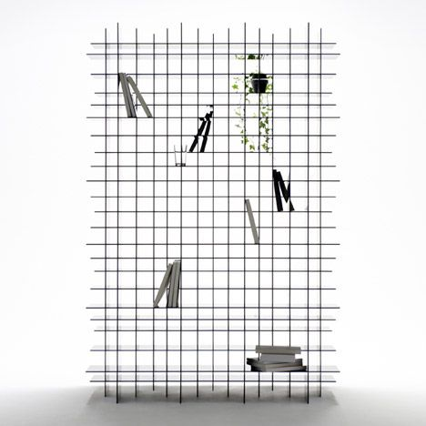 scatter shelf by nendo textured fabric, pop of something.