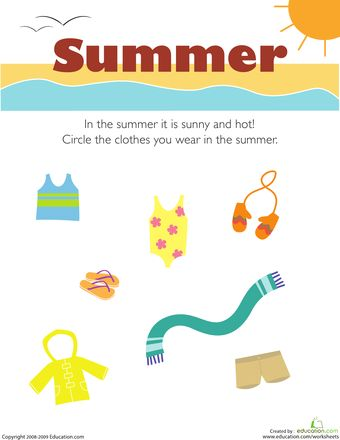 What Do You Wear in the Summer? | Seasons worksheets ...