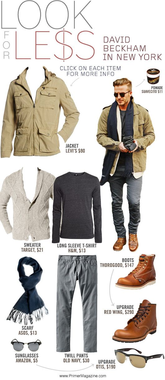 Look for Less: David Beckham in New York - Primer. Always looking for ways to look good for less.