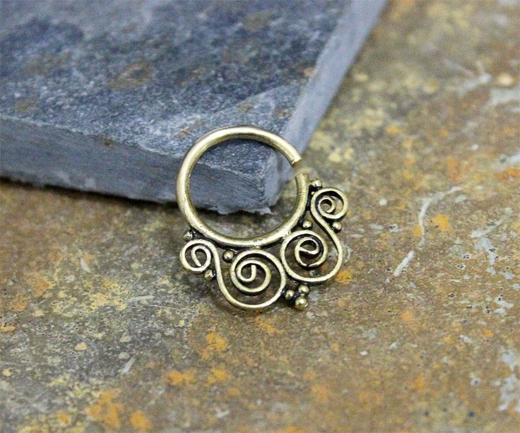 Brass Gold Septum Jewelry, Earring,Carrtlige Ring,Tragus Ring,Nipple ring,Daith,Rook Bendable,16G Body Piercing by Purityjewel on Etsy