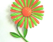 Enamel Flower Brooch Orange and Green