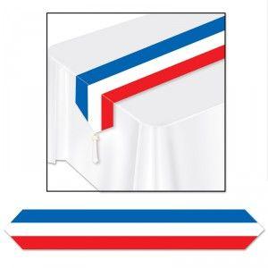 Ce chemin de table tricolore bleu, blanc, rouge sera parfaite pour assister aux matchs de l'équipe de France à l'Euro 2016, elle mesure 1,80 m X 30 cm.