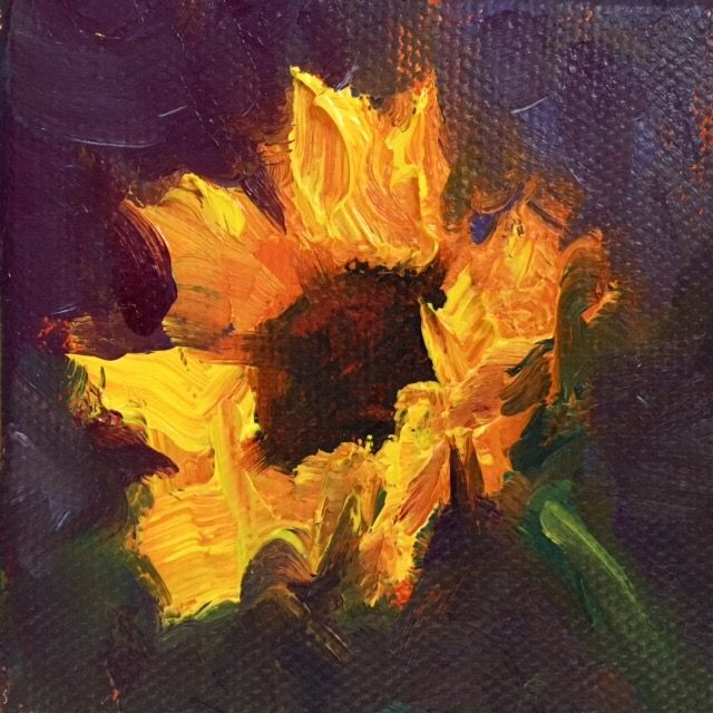 """Sparkle"", 3"" x 3"" Petite Original Oil Painting"
