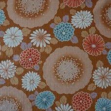 Tissu coton dobby grosses fleurs sur fond ocre