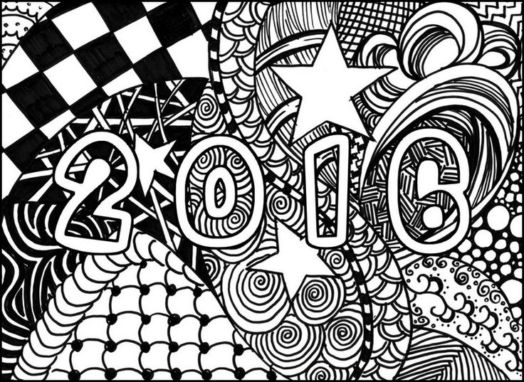 Adult Coloring Page New Year 2016 Happy 1