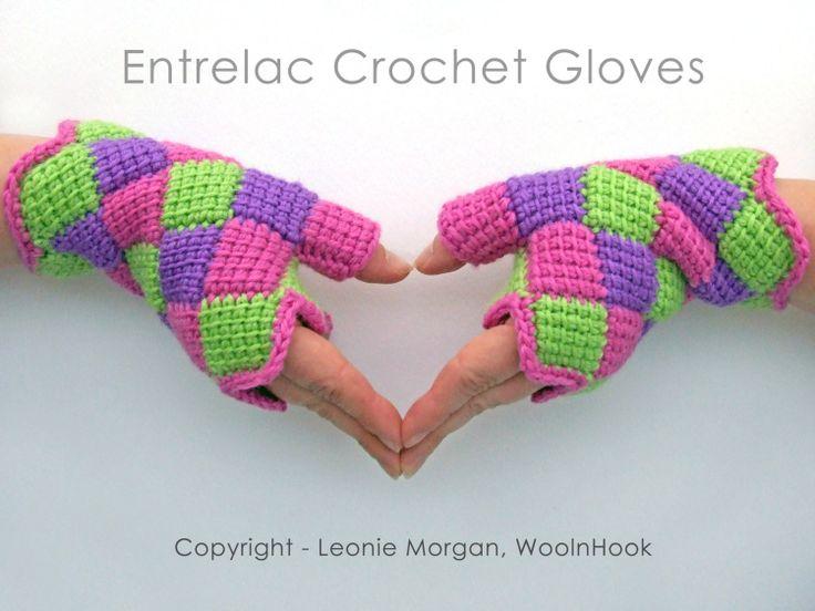 Crochet Pattern  Entrelac Crochet Fingerless Gloves by WoolnHook, $4.10