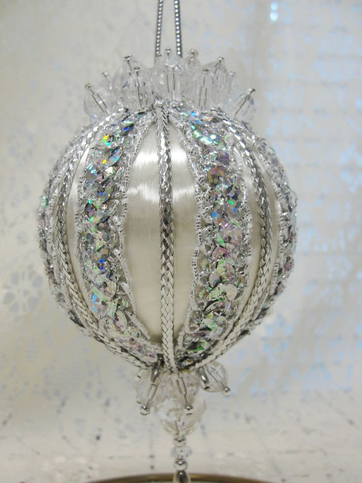 handmade beaded christmas ornament silver on white sequins u0026 beads made in texas - Handmade Christmas Ornaments