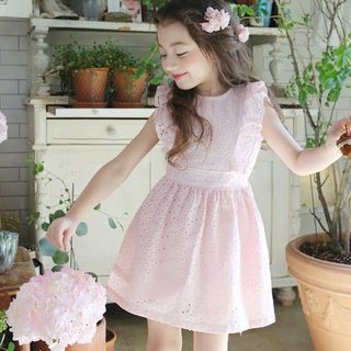 Cuckoo Kids Crochet Sleeveless Dress Pink