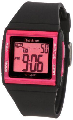 Armitron Women`s 45/7015PNK Pink and Black Digital Chronograph Sport Watch $22.49