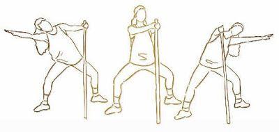 Em pé, com o tronco direito e segurando um bastão, mantenha as pernas afastadas e semiflectidas. Incline o corpo para o lado direito, acompanhando o movimento dos braços. Volte à posição inicial e repita o exercício, agora para o lado esquerdo. Faça 20 repetições para cada lado, em três sequências, com intervalo de cinco tempos entre cada sequência.