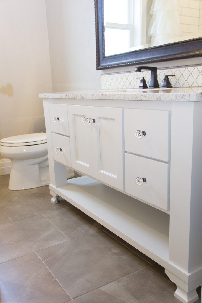 Beige Tile Bathroom Floor White Tile Vanity Splash Beige Tile