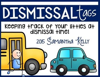 Dismissal Tags for Beginning of the Year Back to School time! These dismissal tags will put your mind at ease when the bell rings to send your kiddos home.  They are color coded and have pictures to differentiate between four modes of dismissal - bus rider, car rider, walker, and after school (for programs like the YMCA), and Daycare.