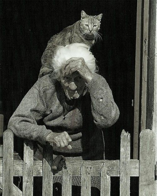 Old woman with her cat.