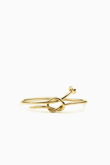 Knotted Nail Bangle in Gold