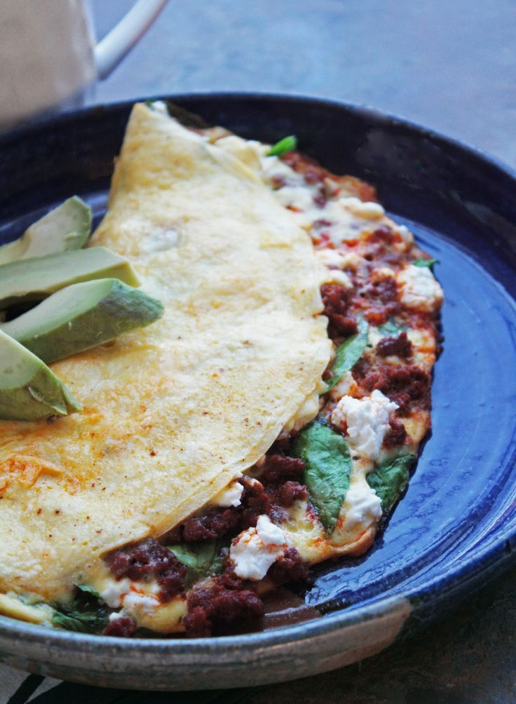 Spinach, Goat Cheese & Chorizo Omelette @I Breathe... I'm Hungry... (Goat cheese optional)
