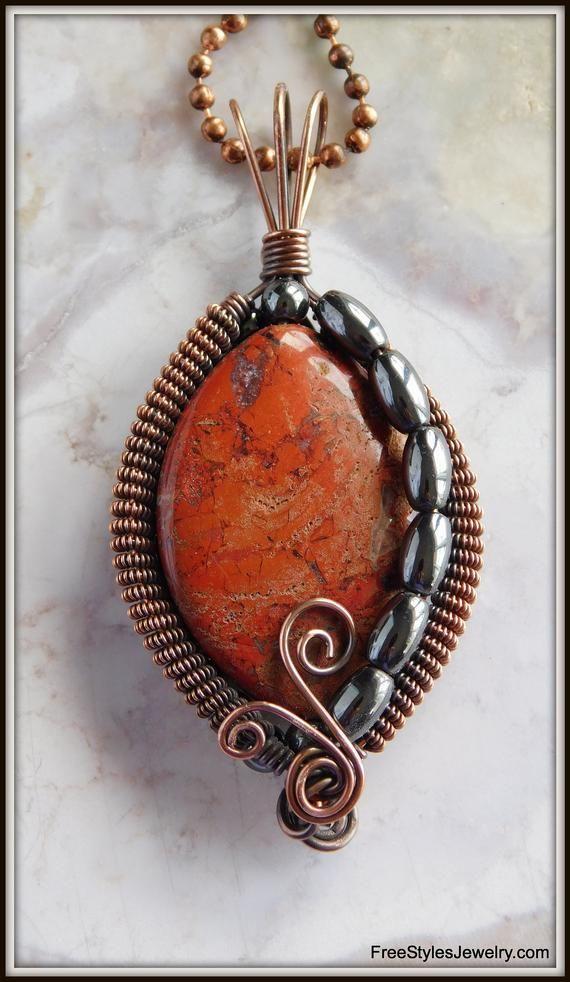 Picture Jasper Necklace Picture Jasper Wire Wrapped Pendant