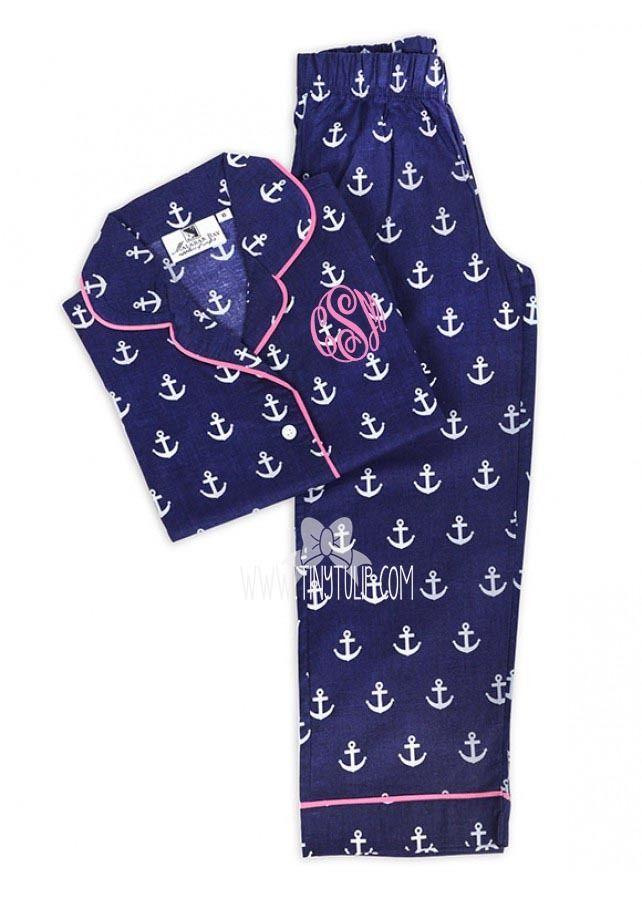 anchors monogrammed kids long pajama set