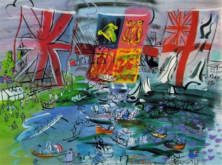 Художник - Рауль Дюфи, картина «Регата Хенли»: Марина, Гуашь