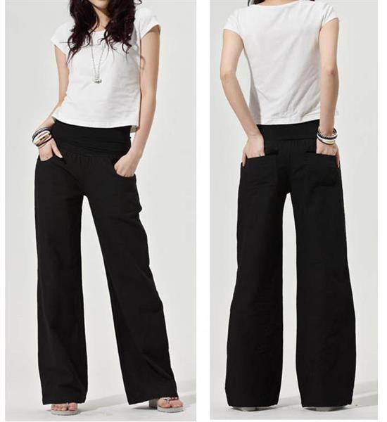 Черные льняные женские брюки