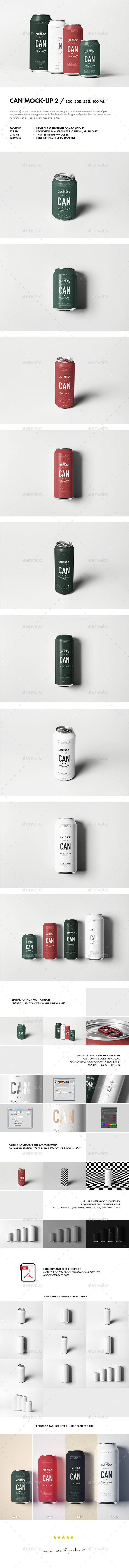 Can Mock-up 2 - Food and Drink Packaging #psd #mockup #can #beverage #packaging