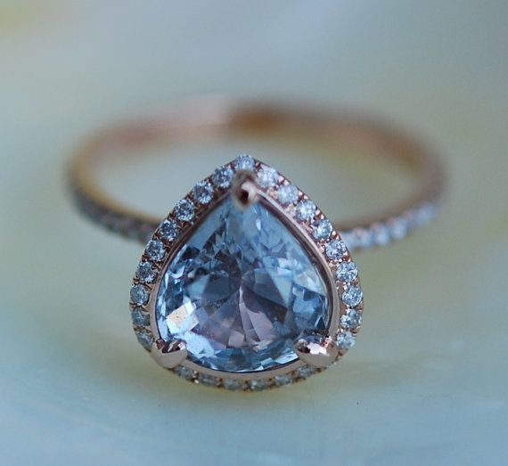 Sapphire Engagement Ring Blue sapphire 14k Rose Gold Diamond ring Pear Sapphire Ring