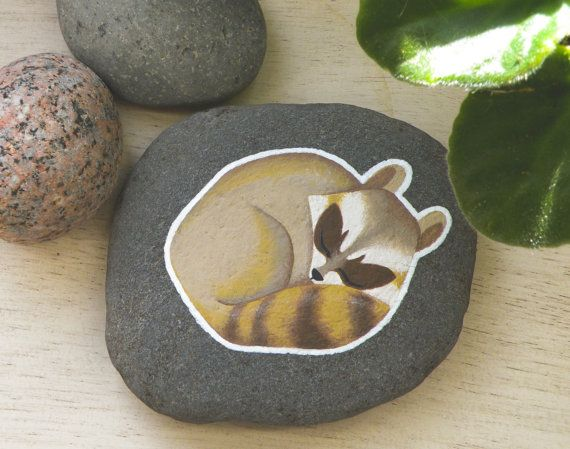 Raccoon Hand Painted River Rock by stickbystick on Etsy