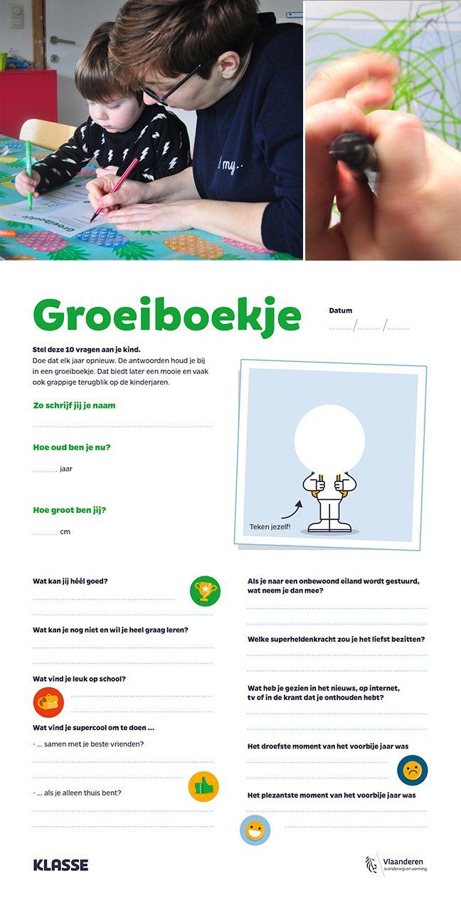 Groeiboekje: bundel de kinderjaren, stel elk jaar dezelfde vragen aan je kind, zie hoe het evolueert. Printable