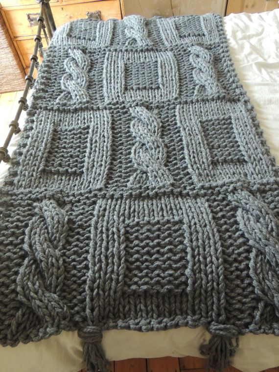 Chunky Grey Hand Knitted Blanket / Double Bed by EricAndEthel, £65.00
