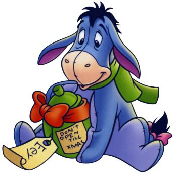 Disney Eeyore with a present Saying Do Not Open til Christmas