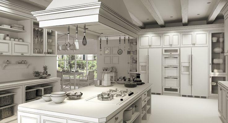 scene country kitchen corona 3d model