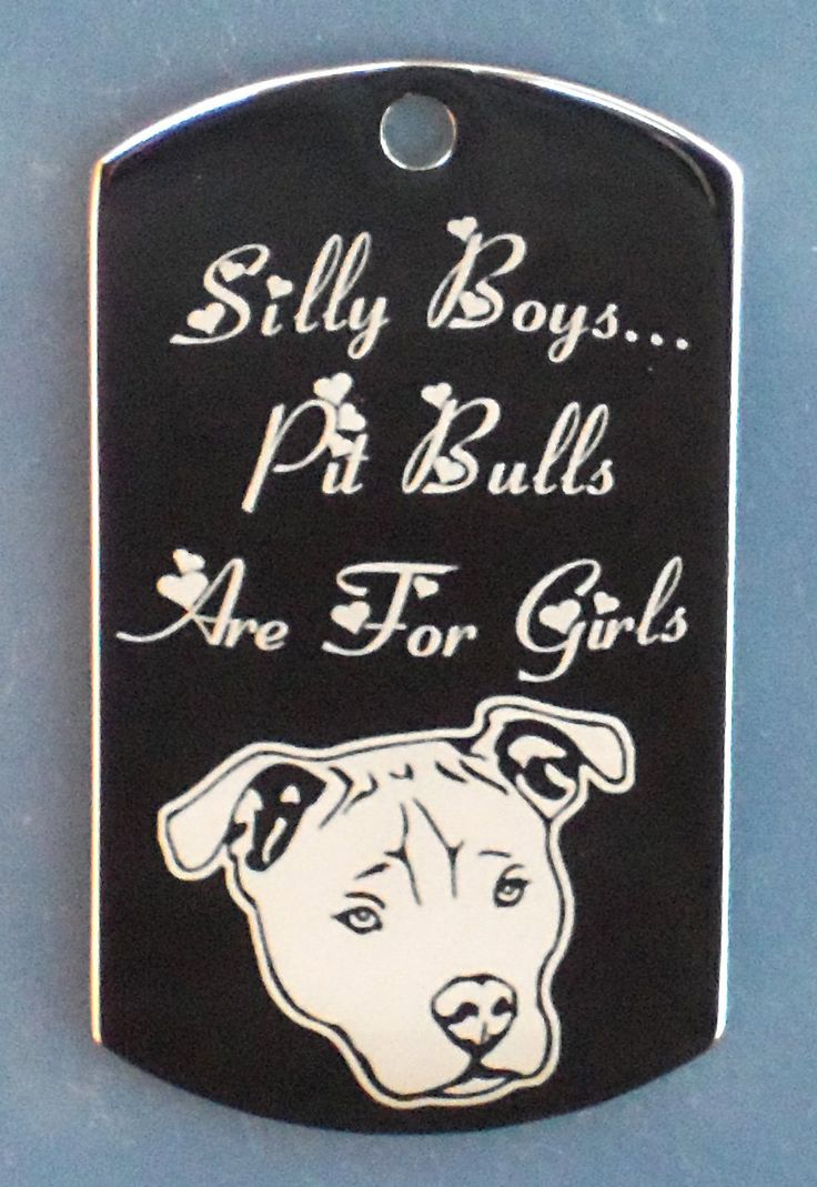 Engraved Pit Bulls Are For Girls Dog Tag Necklace With Free Engraving Of Pets Name On